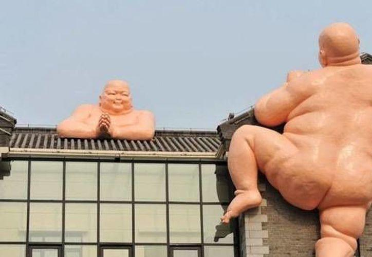 Imágenes de las esculturas colocadas en un restaurante chino de la ciudad de Jinan (actuzero.blogspot.com, en actualidad.rt)