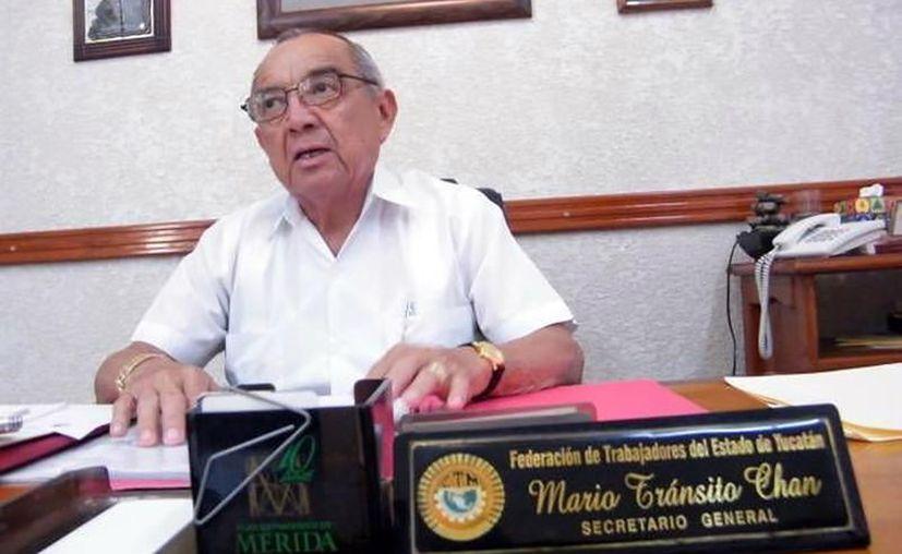 El secretario general de la Federación de Trabajadores de Yucatán, Mario Tránsito Chan,  aseveró que el sindicato que preside velará por que todos los agremiados reciban el pago de su aguinaldo.