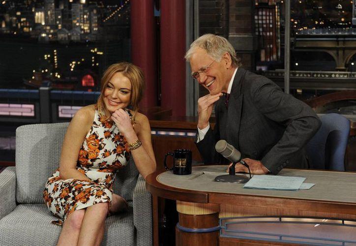 """Lindsay Lohan durante la entrevista en el programa """"Late Show"""" con David Letterman. (Agencias)"""