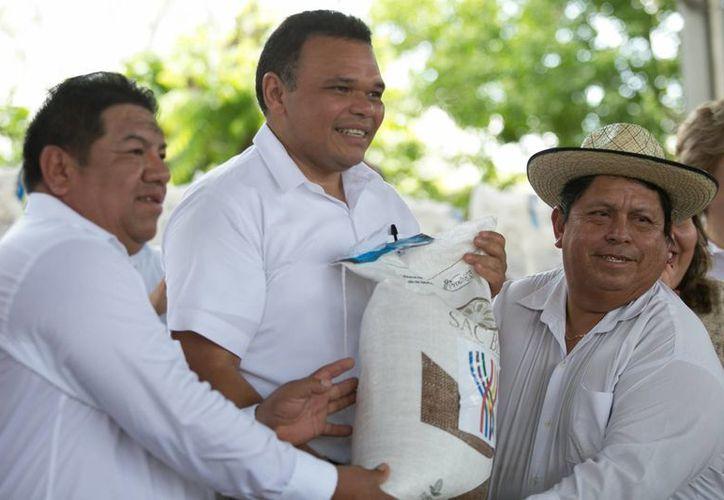 El Gobernador estuvo en el municipio de Chankom entregando semillas de maíz a campesinos de la zona. (Cortesía)
