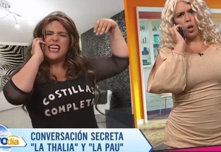 La también actriz imitó una conversación entre las ex Timbiriche Thalía y Paulina Rubio. (Foto: YouTube)