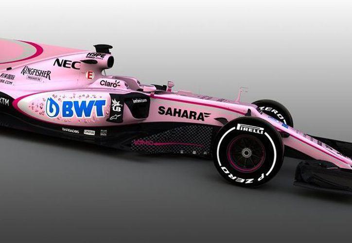 Force India realizó modificaciones en el color del monoplaza del mexicano tras llegar a un acuerdo de patrocinio. (Instagram/Sergio Pérez)