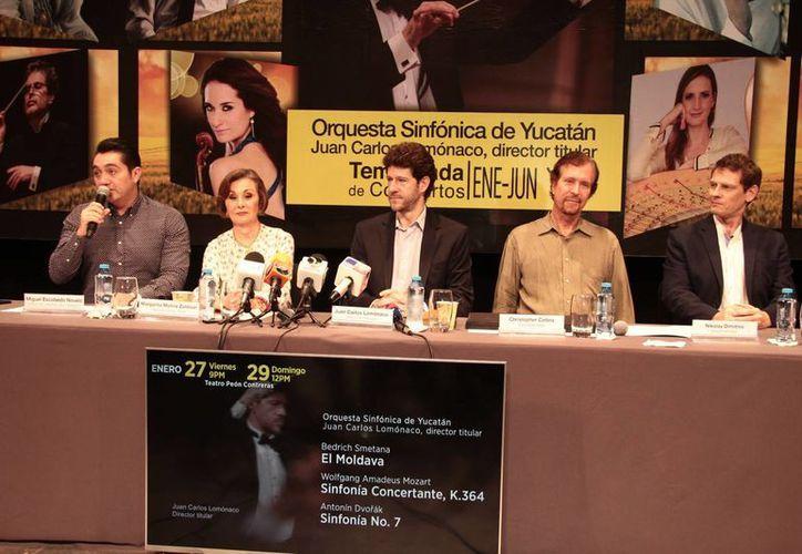 Miembros de la OSY dieron a conocer los detalles del segundo programa musical, el cual se celebrará en el 'Peón Contreras', el próximo viernes y domingo. (Jorge Acosta/Milenio Novedades)