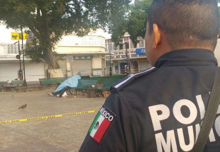 Al parecer el hombre que murió sentado en el parque Eulogio Rosado fue asesinado alrededor de las 04:00 hrs del viernes, pero nadie se dio cuenta sino hasta bastante tiempo después. (SIPSE)