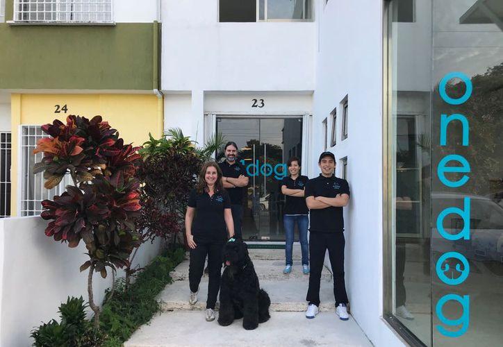 Fundadores de OneDog: Antonio Prados, gestión; Isabel Sierra, instructora canina; Raymundo Mejía, director de estética y diseño de imagen. (Redacción/SIPSE)