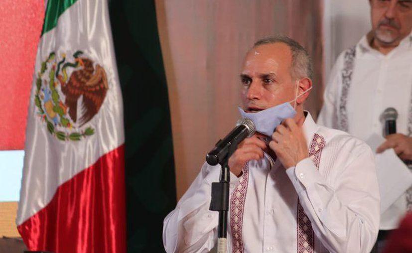 El Dr. Hugo López-Gatell, subsecretario de Salud, durante la conferencia de prensa diaria de la Ssa, celebrada esta noche en la ciudad de Puebla. (Foto: Twitter).