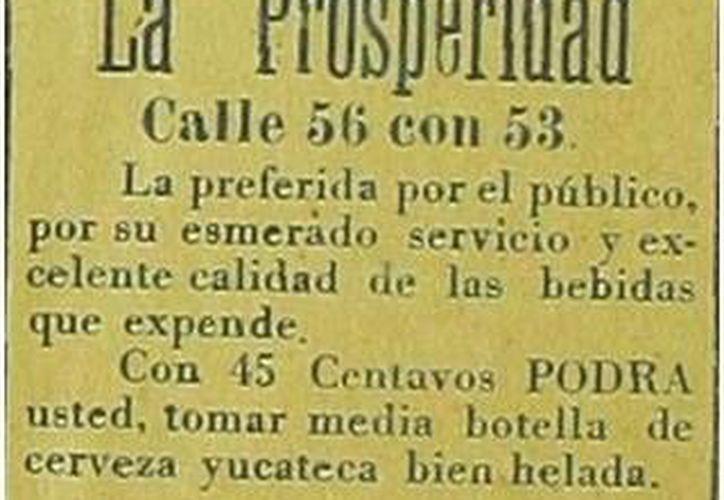 Muchos pensaban que La Prosperidad fue una cantina cincuentera pero ¡oh sorpresa! Ya transcurrieron casi 100 años desde su inauguración, ya que esta imagen es del año de 1921. (Sergio Grosjean/SIPSE)