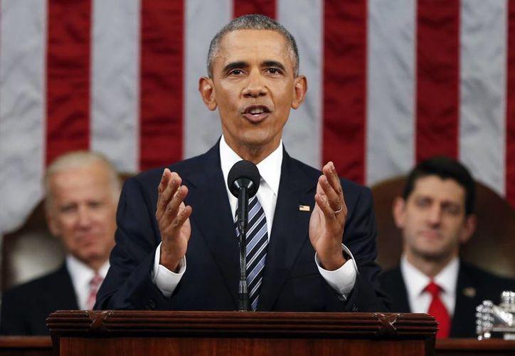 El presidente Obama ofreció este martes su último informe ante el Congreso de EU. (AP)