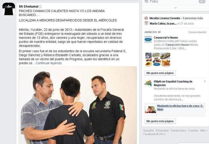 Un usuario de Facebook de Chetumal reprocha por la preocupación que generaron los menores desaparecidos. (Facebook)