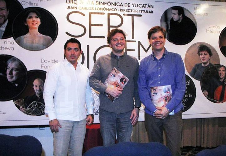 Imagen del director general del Figarosy, Miguel Escobedo Novelo, (der) y los músicos invitados. (Milenio Novedades)