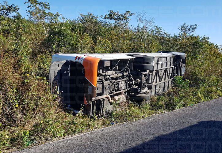 El autobús de pasajeros terminó volcado a un costado de la carretera. (Información de Orville Peralta/SIPSE)