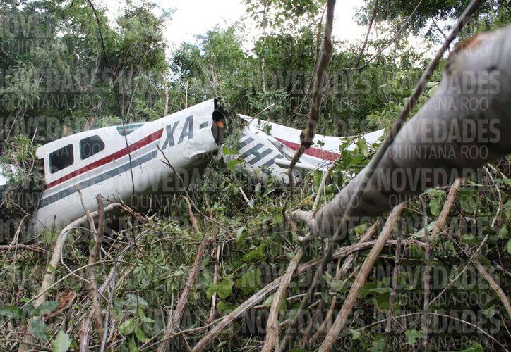La avioneta cayó en la selva, donde se ubica el rancho Xamán-Há. (Adrián Barreto/SIPSE)