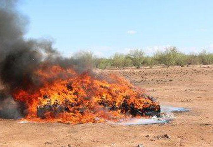 Toda la droga incautada fue incinerada en la estación Radio Monitora en Hermosillo. (Twitter)