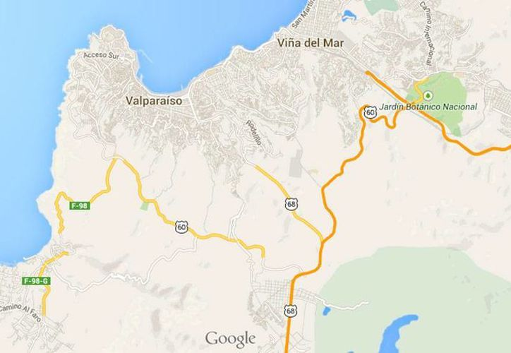 El epicentro del temblor de magnitud 6.2 que sacudió la tarde del sábado la región metropolitanta de Santiago de Chile se ubicó a 37 km al norte de Valparaíso. (Google maps)