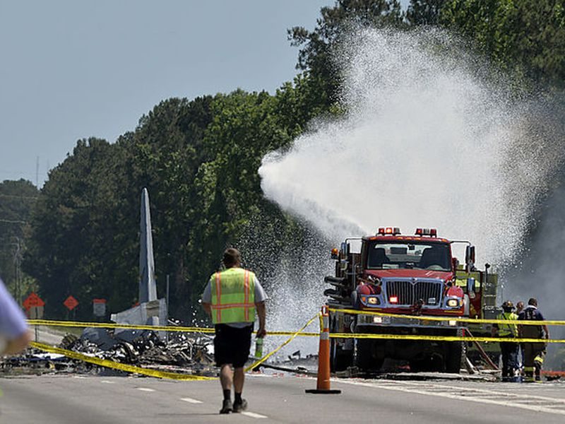 first responders work the scene of a deadly crash of an Air National Guard C-130 cargo plane from Puerto Rico near the intersection of state highway Georgia 21 and Crossgate Road in Port Wentworth, Ga. (AP)
