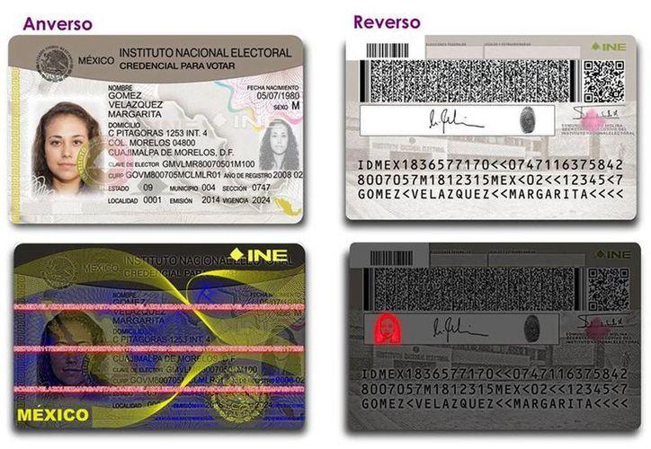 Muestra de la credencial para votar con logo del Instituto Nacional Electoral. (SIPSE)