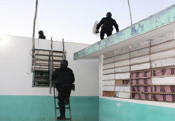 Policías de la SSP durante la inspección. (SIPSE)