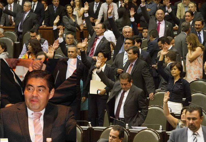 Tras la minuta aprobada por diputados, la bancada del PRD encabezada por Miguel Barbosa (recuadro) reclamó al secretario de Hacienda que cumpla su palabra empeñada.  (Notimex)