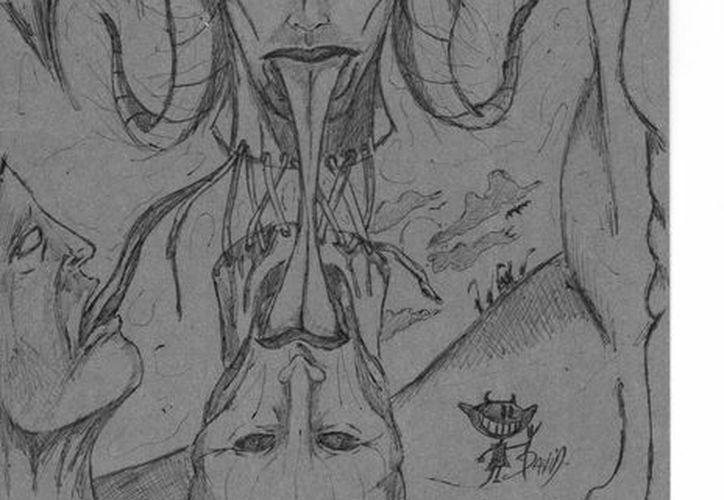 """Dibujo de uno de los dioses lituanos de los cuales reciben ayuda los """"rokshi"""" para hacer sus trabajos. (Jorge Moreno/SIPSE)"""