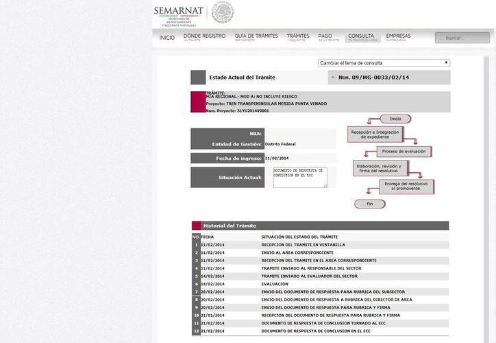 Los datos del proyecto en la página de internet de la Semarnat. (Julián Miranda/SIPSE)