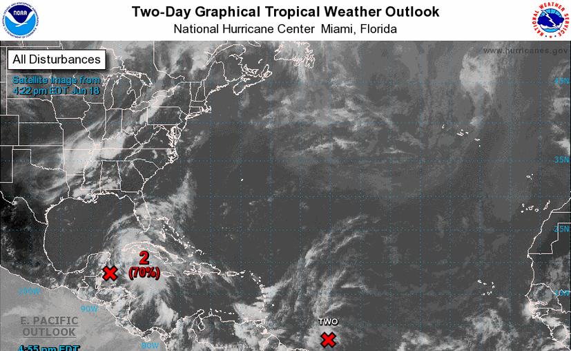 Aumenta la probabilidad de un ciclón cerca de la Península de Yucatán. (NOAA)