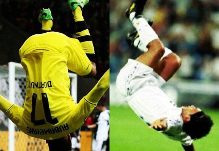 Pierre Aubameyang y Hugo Sánchez. Los festejos de gol son similares, con algunos años de diferencia. (lapelotona.com)