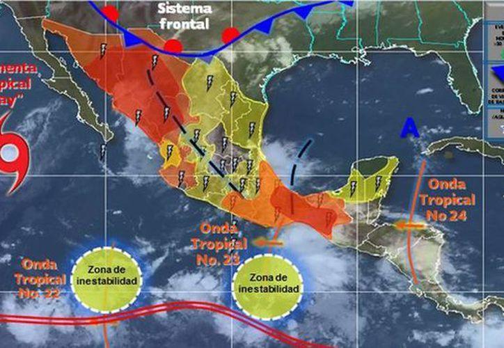 Durante la madrugada, Kay se ubicó a 780 kilómetros al suroeste de Punta Eugenia. (smn.cna.gob.mx)