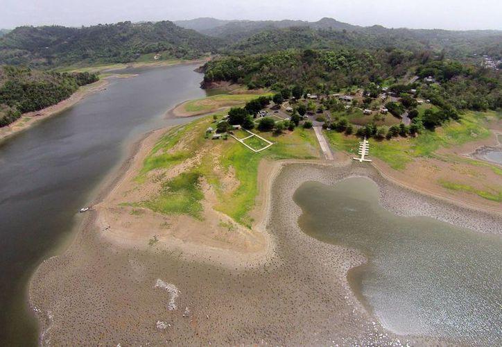 Imagen que muestra los efectos de la sequía en la orilla del embalse de La Plata en Toa Alta, Puerto Rico. (Agencias)