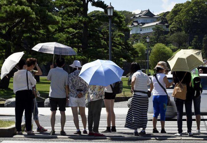Varias personas se protegen del sol mientras pasean por los jardines del Palacio Imperial en Tokio, Japón. (EFE/Archivo)