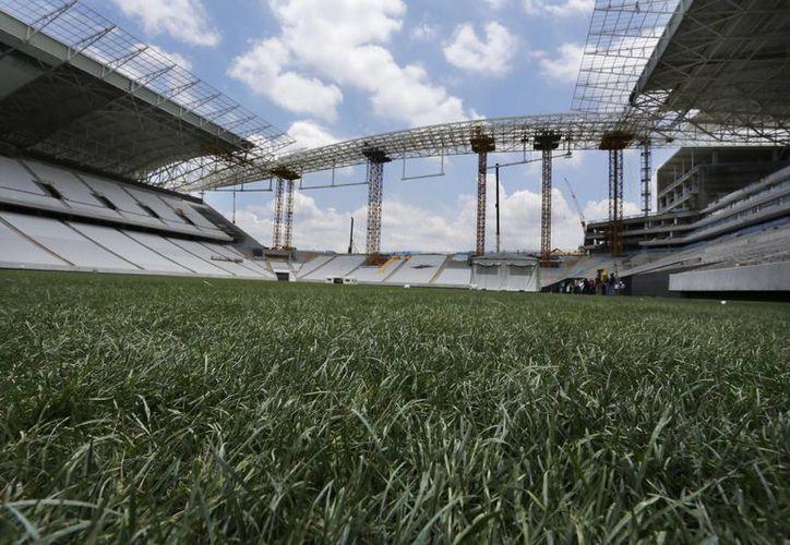 Césped mezclado con fibras artificiales de la Arena Sao Paulo, uno de los principales estadios para la Copa Mundial de Futbol Brasil 2014. (Agencias)