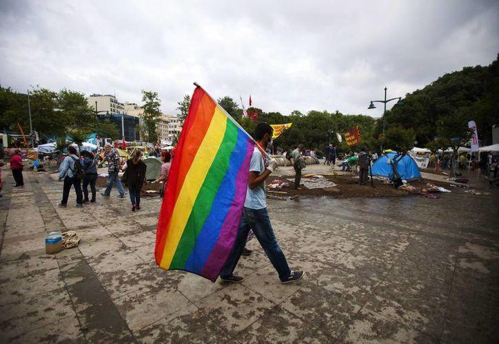 Un activista camina sosteniendo la bandera del orgullo gay en el parque Gezi cerca de la plaza Taksim en Estambul, Turquía. (EFE)
