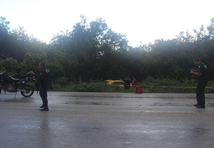 Autoridades policíacas acudieron al sitio para verificar el reporte. (Sara Cauich/SIPSE)