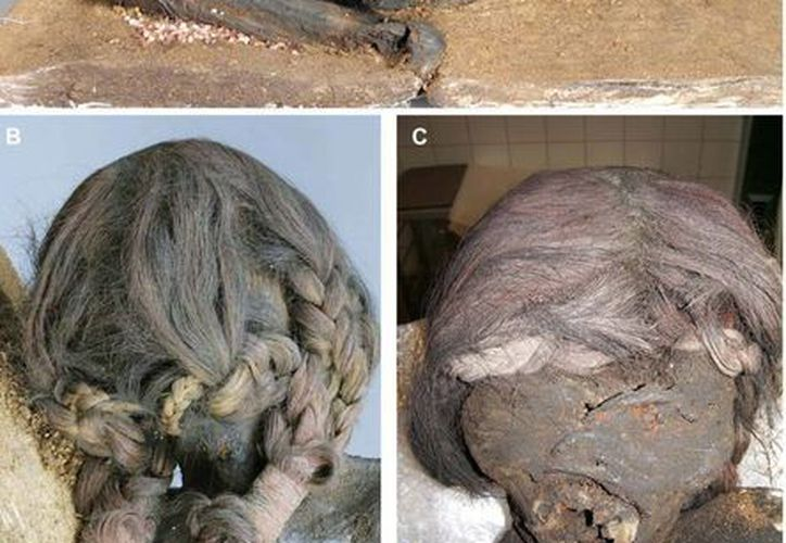 Composición de imágenes que muestran planos de la momia de una mujer que padecía mal de Chagas, y que muestra indicios de que pudo haber sido parte de un homicidio ritual, según un artículo difundido hoy por Public Library of Science. (EFE)