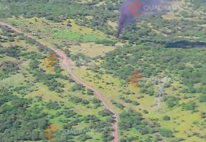 Imágenes de la aeronave derribada la tarde de este martes en Cupuán del Río, Michoacán. (Quadratín/Milenio)