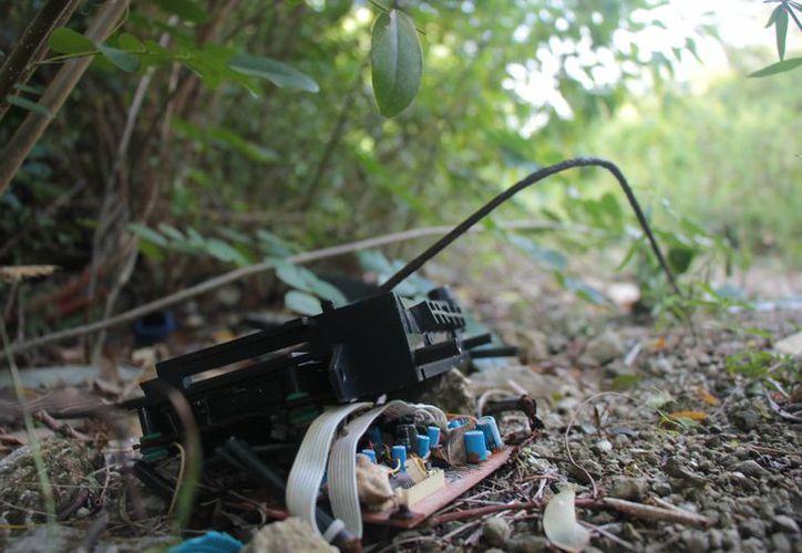 Aparatos electrónicos descompuestos contaminan los humedales. (Gustavo Villegas/SIPSE)