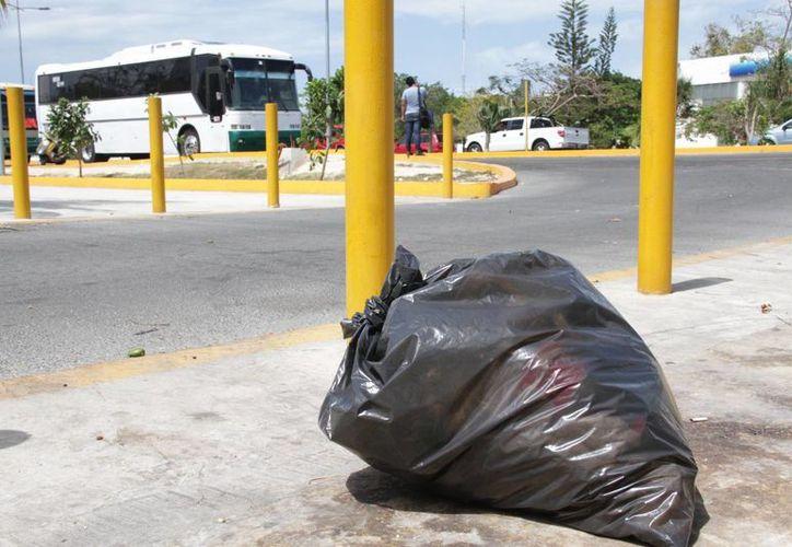 Los desechos se acumulan por doquier, en la avenida. (Consuelo Javier/SIPSE)
