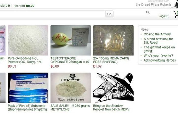 Portada del sitio web que ofrece varias clases de drogas a través de internet. (Captura de pantalla)