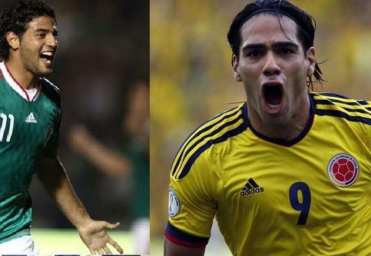 Carlos Vela (i) y Radamel Falcao se perderán jugar el Mundial de Brasil por dos razones muy distintas. (Fotos: mediotiempo.com y hufftingtonpost.com)