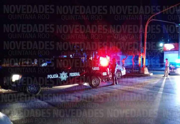 Elementos de todas las corporaciones policíacas arribaron al sitio para acordonar el perímetro y organizar un operativo de búsqueda de los delincuentes. (SIPSE)