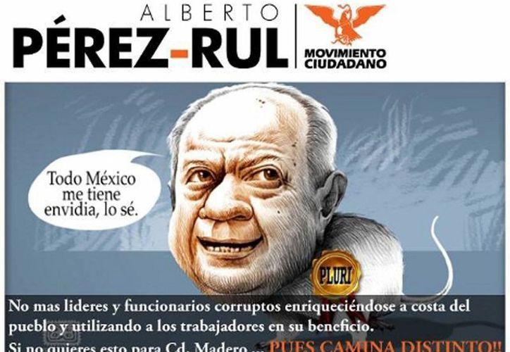 Propaganda del candidato a la alcaldía de Ciudad Madero, Alberto Pérex Rul. (Milenio)
