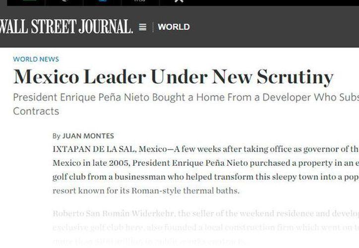 Captura de pantalla de la nota que se publica en el sitio digital del diario The Wall Street Journal, en la que se da cuenta de la casa de Peña Nieto en Ixtapan de la Sal.