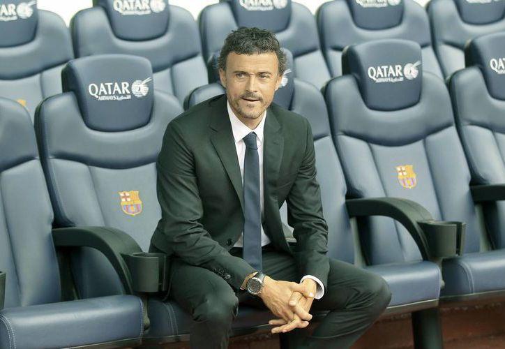 El técnico Luis Enrique Martínez, en el banquilo de los entrenadores del Camp Nou. (EFE/Archivo)