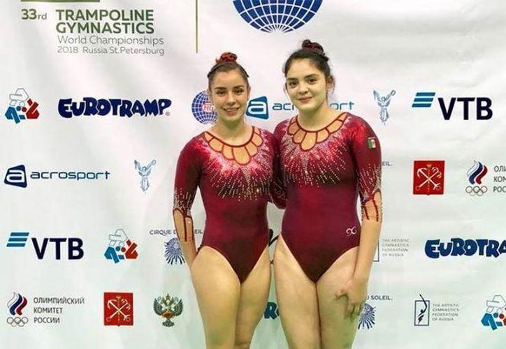 las gimnastas mexicanas Dafne Navarro y Melissa Flores pasaron a la final de la prueba sincronizada del Campeonato Mundial de Gimnasia Trampolín, que se realiza en Rusia. (Twitter)