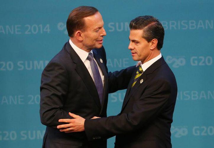 Peña Nieto saluda al primer ministro de Australia, Tony Abbot, a su llegada al encuentro de líderes del Grupo de los 20 en Brisbane, Australia. (AP)