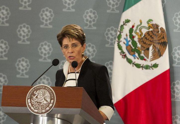 La secretaria de Salud, Mercedes Juan López, durante su participación en la XXII Asamblea General de la Fundación Mexicana para la Salud. (Archivo/Notimex)