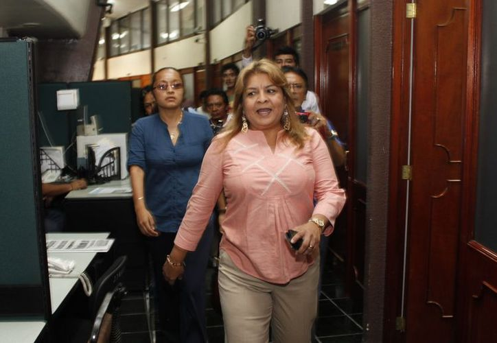 La ex alcaldesa de Tulum Edith Mendoza Pino sostuvo ayer su primera comparecencia con la Comisión Instructora del Congreso local. (Francisco Sansores/SIPSE)