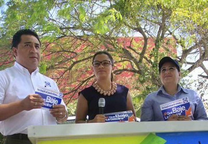 La diputada federal, Lourdes Medina Valdez, realizó una conferencia de prensa para tratar el tema de la homologación de la gasolina. (Harold Alcocer/SIPSE)