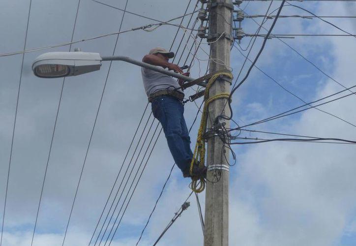 Los trabajadores exponen sus vidas cerca de las líneas de alta tensión. (Raúl Balam/SIPSE)