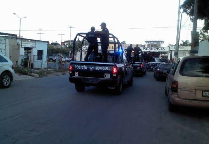 Elementos de Seguridad Pública participan en la búsqueda del automóvil robado. (Eric Galindo/SIPSE)