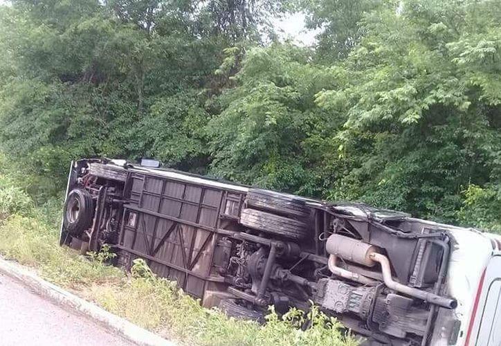 Bomberos y elementos de seguridad rescataron a los 14 pasajeros que quedaron atrapados en el autobús volcado. (SIPSE)